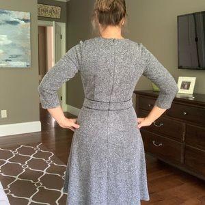 Talbots A Line 3/4 Sleeve Dress w/ Leather Detail